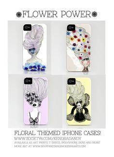 Floral themed iPhone cases by Bouffants and Broken Hearts. http://society6.com/KendraDandy www.bouffantsandbrokenhearts.com