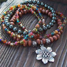 Bohemian Gypsy Stretch Beaded Bracelets with Flower Charm - Green Swarovski Pearl and Wood Bracelet Set by Angelof2, $26.50
