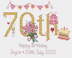 70th Birthday Cross Stitch Kit £16.95 | Past Impressions | Nia