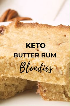 Keto Butter Rum Blondies by I Breathe I'm Hungry. This easy recipe is perfectly chewy and loaded with walnuts. Lightly sweet, richly buttery, and with a subtle hint of rum, these are the best Keto blondies you'll ever have. Pin made by Desserts Keto, Keto Snacks, Dessert Recipes, Breakfast Recipes, Breakfast Casserole, Lunch Recipes, Healthy Night Snacks, Vegetarian Recipes, Breakfast Gravy