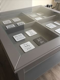 Liatorp Ikea coffee table with drink coasters fixed into drawers for an amazing contemporary look