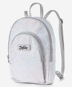 Justice Metallic Cinch Top Mini Backpack NWT Silver