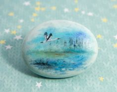 Handpainted oil painting on a natural stone covered with varnish for protection. Waterproof. Signed by the artist from the back side of the stone. The stone will be shipped in a custom giftbox. Dimensions of the stone: 1.9x2.5 (5x6.5 cm). Free shipping worldwide. (International Airmail with Tracking ID). Please do not hesitate to contact me if you have any questions, Yana Khachikyan.