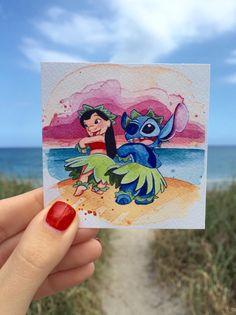 Lilo & Stitch Mini stampa di 3 x 3 di 18thCenturyShop su Etsy