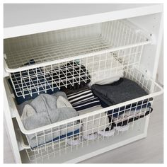Today, we are sharing our best nursery storage ideas IKEA edition. These Brilliant IKEA Hacks will keep your baby's nursery organized. Basket Drawers, Wire Basket Storage, Wire Baskets, Wire Basket Shelves, Closet Drawers, Ikea Closet, Closet Bedroom, Master Closet, Linen Closet Organization