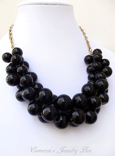 Black Chunky Necklace Statement Necklace by CameronsJewelryBox