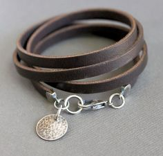 Brown Leather Wrap B  Brown Leather Wrap Bracelet Sterling Silver