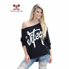 96b4242636a55 shirt winter Picture - More Detailed Picture about Brand Original Design  Women Blouse Off Shoulder Letter Printed Sexy Loose Hollow Out Blouses  Shirt 2016 ...