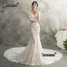 04b5fa533c YiWuMenSa Mermaid Long Sexy Wedding Dresses 2018 Lace Appliques Long  Sleeves Bride Dresses Elegant Wedding Gowns robe de mariee