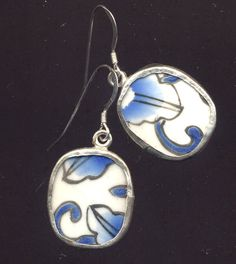 Antique Pottery Earrings in Blue and White on by Annaart72 on Etsy. $21.00, via Etsy.