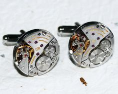 LONGINES Men Steampunk Cufflinks - With GENUINE Longines Luxury Watch Mechanism - Available at TimeInFantasy. $135.00