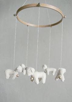 Baby  mobile - nursery mobile - baby crib mobile - Lambs mobile - Sheeps mobile -FOR LITTLE SHEPHERD- baby gift - made to order. $89.00, via Etsy.