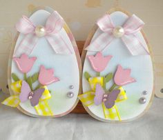 Sweet Easter Egg Embellishments Spring Tulips by KindrasCreations