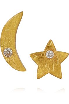 KEVIA Moon and Star gold-tone crystal earrings $18.70 http://www.theoutnet.com/products/639099