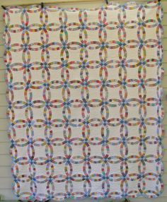 """Traditional Quilt - Double Wedding Ring Quilt - 80""""x110"""" Queen - Pastel pink, yellow, blue and green on White background."""