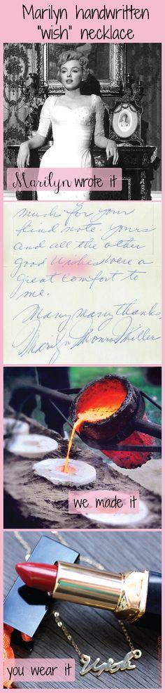 "Marilyn Monroe ""wish"" handwriting necklace taken from a letter written to a fan in August of 1957. Get your own handwriting necklace from Muse."
