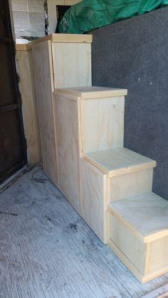 Horse trailer steps - 4 step shelving/closet
