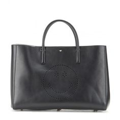 Anya Hindmarch Smiley Featherweight Ebury Leather Shopper ($1,490) ❤ liked on Polyvore