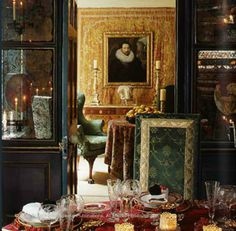 The feast, a la Rothschild. Layers upon layers of gold, damask, texture, crystal, in the Second Empire jumble that they perfected.
