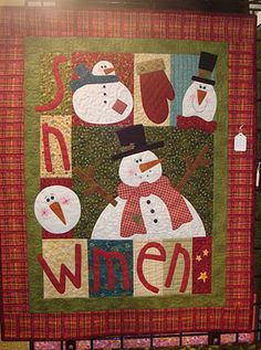 """Take 12 bobbins and call me in the morning."" I love filling bobbins on my new machine, and I filled a dozen in anticipation of doing. Christmas Quilting Projects, Christmas Patchwork, Christmas Sewing, Small Quilts, Mini Quilts, Snowman Quilt, Christmas Wall Hangings, Winter Quilts, Patchwork Natal"