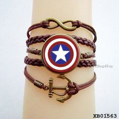 American captain bracelet, Captain America jewelry , unique gifts, anniversary gifts, anchor bracelet, glass cabochon bracelet on Etsy, $10.61 CAD