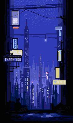 • art landscape cityscape scifi science fiction pixel art pixel cyberpunk…