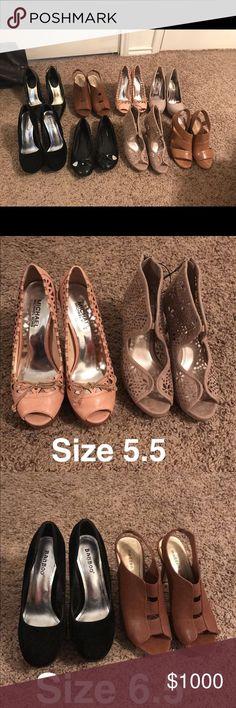 Shoes Size 5.5: pink michael kors $50, tan heels $21. Size 6: black heels $10, black flats $12, tan heels $20. Size 6.5: black heels $8, brown heels $3. Size 7: tan heels $20. Steve Madden Steve Madden Shoes