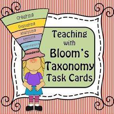 Teaching with Bloom's Taxonomy Task Cards is a fun and effective way to get your student's asking the right questions. I have made Anchor Task Cards with all level Question Stems that will be great for a literacy center or pre/post topic activities. Just copy, laminate, and attach rings for a handy resource your students can use again and again in all content areas.