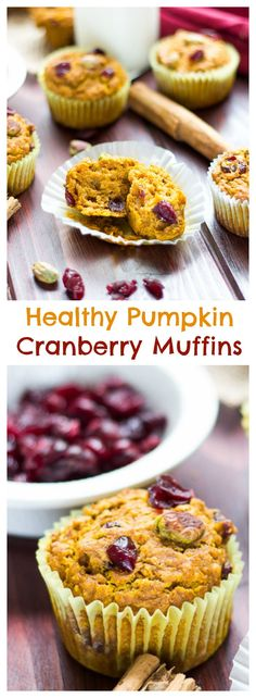 These Healthy Pumpkin Cranberry Muffins have all the flavors of fall without the guilt. Coconut oil, oat flour, and a little sweetness from the cranberries make these a perfect breakfast! Zucchini Muffins, Muffins Blueberry, Cranberry Muffins, Healthy Muffins, Healthy Treats, Healthy Desserts, Cranberry Recipes Healthy, Almond Muffins, Healthy Baking