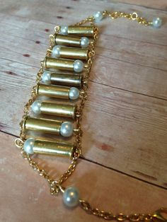 Sweet Caliber Shell Casing and Pearl Bracelet, Bullet Jewelry Ammo Jewelry, Metal Jewelry, Jewelry Art, Beaded Jewelry, Jewelery, Handmade Jewelry, Jewelry Design, Shell Schmuck, Diy Schmuck