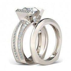 #Jeulia - #Jeulia Tension Round Cut Created White Sapphire Wedding Set - AdoreWe.com