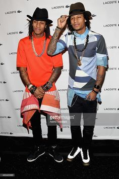 Dancers Larry Bourgeois and Laurent Bourgeois of Les Twins pose backstage at the Lacoste fashion show during Mercedes-Benz Fashion Week Fall 2015 at The Theatre at Lincoln Center on February 14, 2015 in New York City.