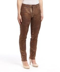 This Copper Rikki Foil Skinny Jeans by Miraclebody is perfect! #zulilyfinds