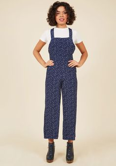 No Space Like Home Jumpsuit in Dotted Blue in XS, #ModCloth