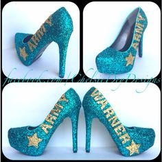 222dfb185937 Army Glitter High Heels Teal Gold Pumps Last Name Star Platform Pumps... (