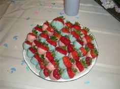 strawberries could dip in white chocolate an pink..