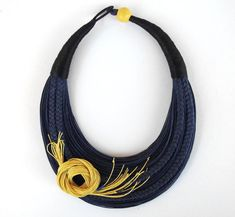 Floral Necklace, Statement Fiber Necklace, Romantic Necklace, Blue and Yellow Necklace, Bold Necklace