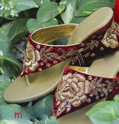 Red Golden Zardoshi Rose work for Indian Bride.