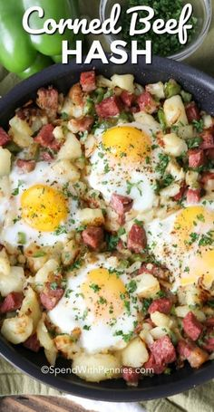 Corned beef hash is the perfect breakfast skillet! This easy meal is the perfect use any leftover corned beef & potatoes. We top it all off with a cracked egg and baked to perfection. Corned Beef Recipes, Corned Beef Hash, Brunch Recipes, Breakfast Recipes, Breakfast Ideas, Fun Recipes, Brunch Ideas, Potato Recipes, Recipe Ideas