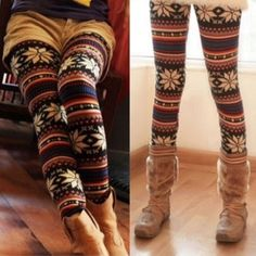 Multi color Aztec design knit leggings These cute, warm leggings have blue, red, cream, yellow, and several brown and tan shades in a cool Aztec design! They are mid length leggings (the come below the knee, but not all the way to the ankle, so they are perfect with calf length boots and a tunic! Fits size XS-M (I am a size 8 in pants and they are a stretchy knit, and they fit me great!) ❤️Multiple pairs in stock, please request a new listing for purchase.❤️ Pants Leggings