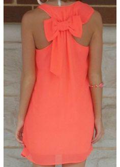 Cute Bowknot Embellished Round Neck Straight Chiffon Dress - Orange