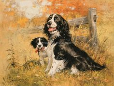 English Springer Spaniel & Pub by Robert Abbett