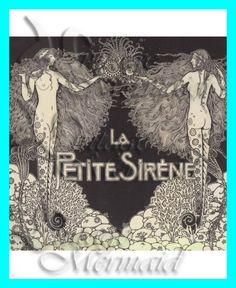 Vintage Mermaid Art | s192 French Art DECO VINTAGE MERMAID illustration Fabric Block ...