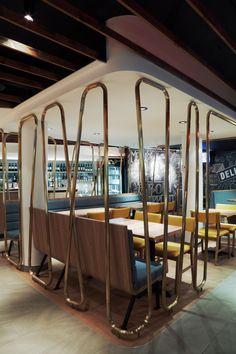 Interior design by jean de lessard. designers créatifs Jeans, Designers, Restaurant, Interior Design, Design Interiors, Home Interior Design, Diner Restaurant, Interior Architecture, Restaurants