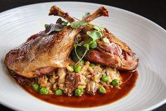 pato gordo   confit duck leg, wild mushroom risotto, green peas, duck jus