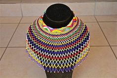 African Zulu Beaded Necklace - WEDDING NECKLACE - Multicolor with geometric trim by Hadeda on Etsy