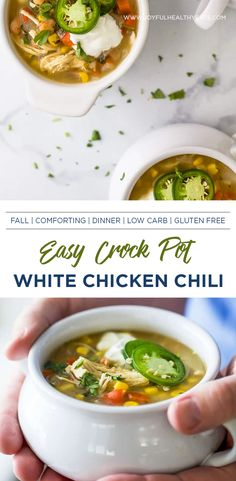 Easy healthy Crock Pot White Chicken Chili with a Salsa Verde twist! This easy and comforting crock pot soup is filled with Fall flavors, only 220 calories per serving, and is guaranteed to be a comfort meal favorite! #crockpotmeal #crockpotsoup #comfortsouprecipes #fallrecipes Healthy Crockpot Recipes, Healthy Eating Recipes, Chili Recipes, Healthy Eats, Soup Recipes, Chicken Recipes, Thanksgiving Recipes, Fall Recipes, Crockpot White Chicken Chili