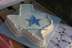 Texas shaped grooms cake by C. Bird's Coordination & Design, an OKC home bakery and coordination service. Contact us at 2cbird@cox.net.