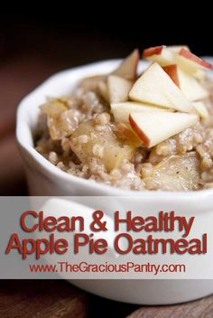 Ingredients 1/2 cup steel cut oats 2 cups water 1 cup chopped apples (approximately 1 small apple) 1/2 tsp. ground cinnamon 1/4 tsp. allspice Honey to taste Directions Bring to a boil, reduce heat and simmer until fully cooked.