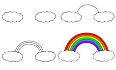 How to draw a Rainbow Easy Drawings For Beginners, Drawing Tutorials For Kids, Easy Drawing Tutorial, Cute Little Drawings, Easy Drawings For Kids, Cute Drawings, Drawing Lessons For Kids, Art Lessons, Doodle Drawings